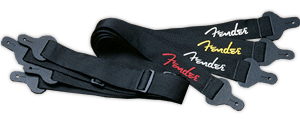 Fender 2-Inch Poly Logo Strap Black/Yellow Logo [0990662070]