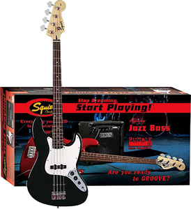 Squier Stop Dreaming, Start Playing! Affinity J Bass with Rumble 15 Amp - Black [0301675006]