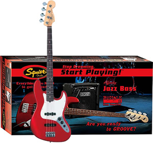 Squier Stop Dreaming, Start Playing! Affinity J Bass with Rumble 15 Amp - Metallic Red [0301675025]