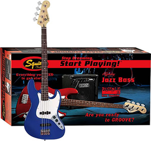 Squier Stop Dreaming, Start Playing! Affinity J Bass with Rumble 15 Amp - Metallic Blue [0301675095]