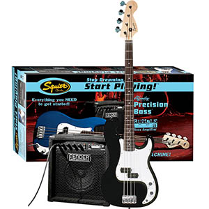 Squier Stop Dreaming, Start Playing! Affinity P Bass with Rumble 15 Amp - Black