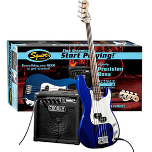 Squier Affinity P Bass Pack with Rumble 15 Amp - Metallic Blue