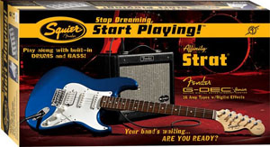 Squier Stop Dreaming, Start Playing! Affinity Strat HSS with G-DEC Junior Amp - Metallic Blue [0301620095]
