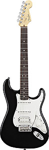 American Standard Stratocaster HSS - Black with Case - Rosewood