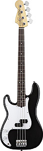 American Standard P Bass Left Handed - Black with Case - Rosewood