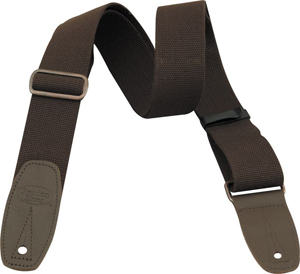 Merino Wool Guitar Strap - Brown with Brown Leather Tabs