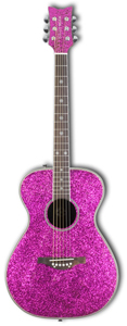 Daisy Rock Pixie Acoustic Left-Handed Pink Sparkle [14-6205L]