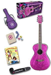 Daisy Rock Pixie Acoustic Starter Pack Left Handed - Pink Sparkle [14-6218L]