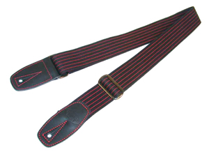 Reunion Blues Merino Wool Guitar Strap - Red Pinstripe with Black Leather Tabs [RBS-92ps]