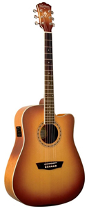 Washburn WD7SCE Dreadnought Acoustic-Electric Guitar - Matte Cherry Burst [wd7sceacsm]