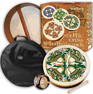 Waltons Gaelic 18-inch Bodhran Package - Celtic Cross