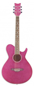 Daisy Rock Wildwood Short Scale Acoustic Guitar - Atomic Pink [14-6264]