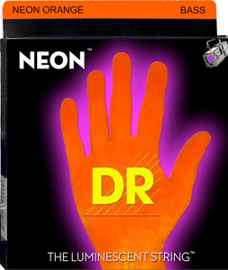 DR NOB Neon Phosphorescent Bass Strings - Orange