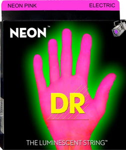 DR NGE-9 Neon Phosphorescent Electric Guitar Strings - Pink [NPE-9]