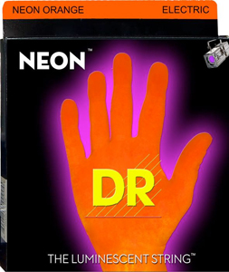 DR N0E-10 Neon Phosphorescent Electric Guitar Strings - Orange [NOE-10]
