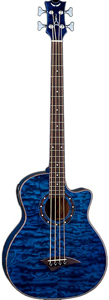 Dean Exotica Quilt Ash Acoustic Electric Bass with Aphex - Trans Blue [EQAA TBL]