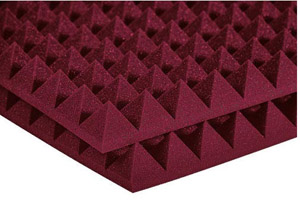 Auralex Studiofoam Pyramid - Twelve 2 Inch, 2x2 Foot Panels Burgundy [2PYR22BUR-HP F]