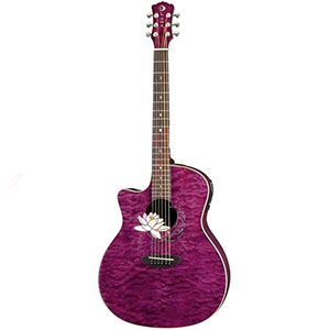 Luna Guitars Flora Series Lotus Lefty Trans Plum [FLO LOT QM LEFTY]