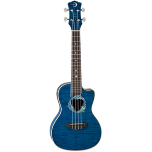 Luna Guitars Dolphin Concert Ukulele Trans-Blue Flame Maple