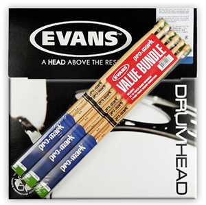 5A Drum Stick 6-Pack with Free Evans G1 Drumhead