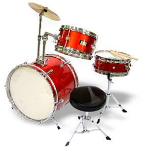 WJM Percussion 3-Piece Junior Drum Set Red []