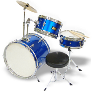 WJM Percussion 3-Piece Junior Drum Set Blue