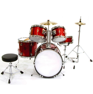 WJM Percussion 5-Piece Junior Drum Set Red []