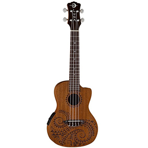 Luna Guitars Mahogany Tattoo Acoustic-Electric Concert Ukulele [UKE TEC MAH]