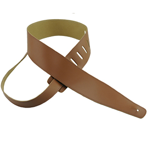 Basic Leather Guitar Strap Tan with Tan Stitch