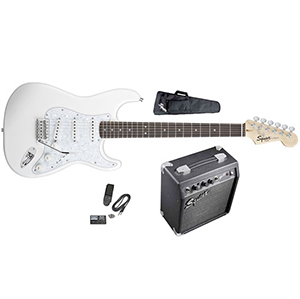 Stop Dreaming Start Playing SE Special with Squier SP-10 Amp - Arctic White