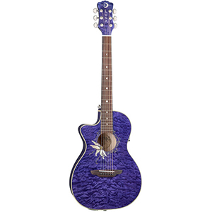 Luna Guitars Flora Passionflower Trans Purple QM - Lefty