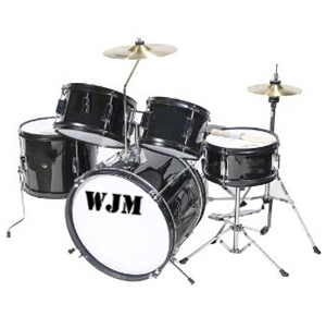 WJM Percussion 5-Piece Junior Drum Set Black
