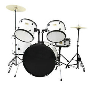 WJM Percussion 5-Piece Junior Drum Set White