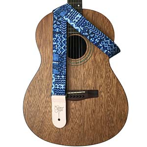 Sherrins Threads Hawaiian Guitar Straps Ocean Blue Tapa