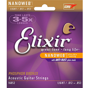 Elixir Acoustic Phosphor Bronze with NANOWEB Coating - Light