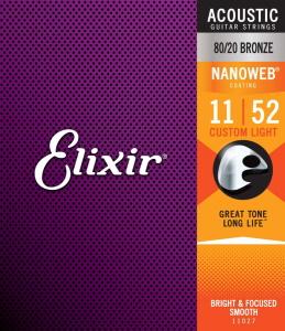 Elixir Acoustic 80/20 Bronze with NANOWEB Coating - Custom Light