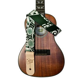 Sherrins Threads Hawaiian Ukulele Straps - Green Tapa
