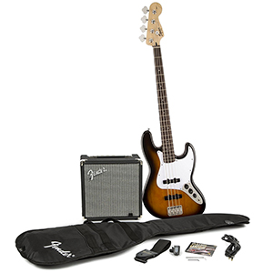 Squier Stop Dreaming Start Playing Set: Affinity Series Jazz Bass with Fender Rumble 15 Amp - Brown Sunburst