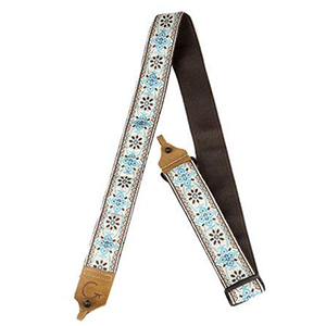 Gretsch G Brand Banjo Strap - Blue with Brown Ends