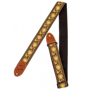 Gretsch G Brand Guitar Strap - Yellow / Orange with Brown Ends