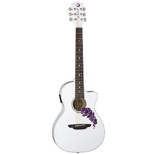 Luna Guitars Flora Orchid A/E - Classic White