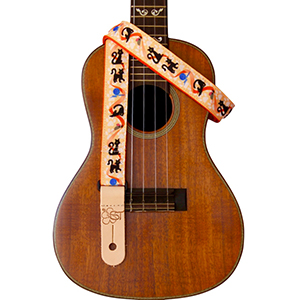 Sherrins Threads Printed Ukulele Straps - Cats on Orange