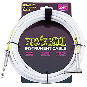 Ernie Ball 20 Ft Straight / Angle Instrument Cable - White