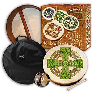 Waltons 18-inch Bodhran Package- Cloghan Cross