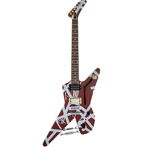 EVH Striped Series Shark - Burgundy with Silver Stripes