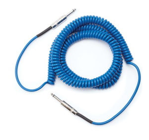 Daddario Coiled Instrument Cable 30 ft Blue