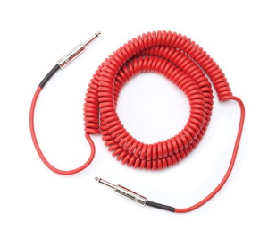 Daddario Coiled Guitar Instrument Cable 30 ft Red