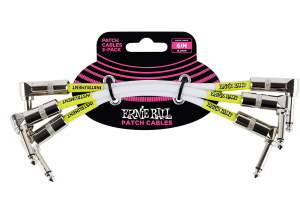 Ernie Ball Angle 6in Patch Cable 3-Pack White