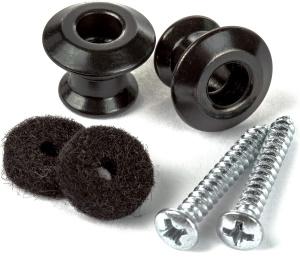Dunlop Straplok Dual Design Strap Button Set- Black-2/Set