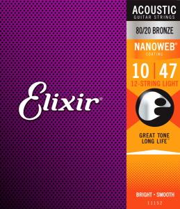 Elixir NanoWeb 80/20 Bronze Acoustic Guitar String 12-String Light